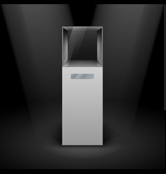 Empty glass showcase in cube form for vector