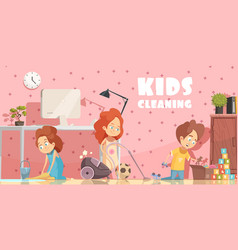 Kids cleaning room cartoon poster vector