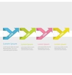 Timeline infographic five step with ribbon up vector