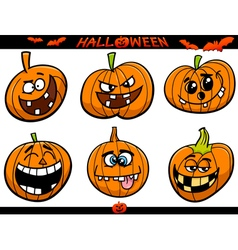 Halloween pumpkins cartoon set vector
