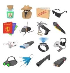 Spy cartoon icons vector image