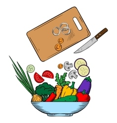 Vegetarian salad preparation process vector