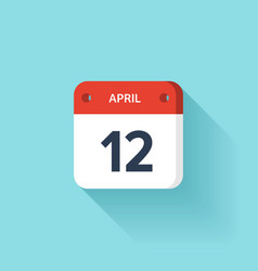 April 12 Isometric Calendar Icon With Shadow vector image vector image
