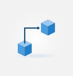 Blockchain technology concept flat blue icon vector
