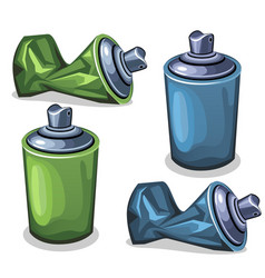 blue and green tube spray full and empty crumpled vector image