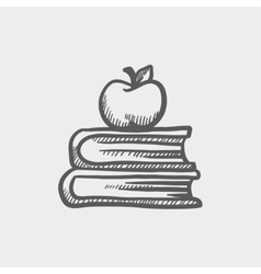 Books and apple on the top sketch icon vector