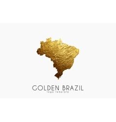 Brazil map Golden Brazil logo Creative Brazil vector image