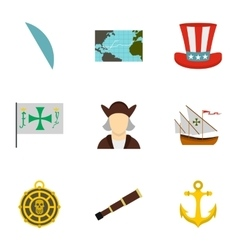 Columbus day icons set flat style vector