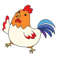 Cute colorful chicken take a walk vector