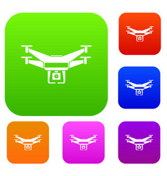 Drone video camera set collection vector