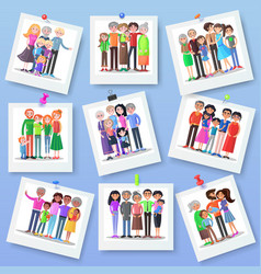 family photography set happy photos of relatives vector image vector image