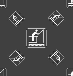 fishing sign Seamless pattern on a gray background vector image