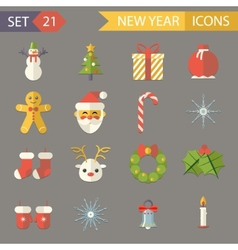 Flat Design New Year Symbols Christmas Accessories vector image vector image