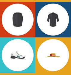 flat icon garment set of sneakers elegant vector image