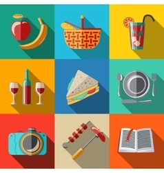 Flat icons set picnic - basket plate spoon vector