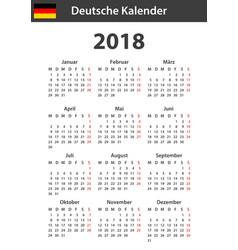 German calendar for 2018 scheduler agenda or vector