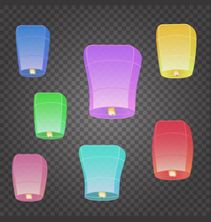 isolated chinese flying sky lanterns vector image vector image