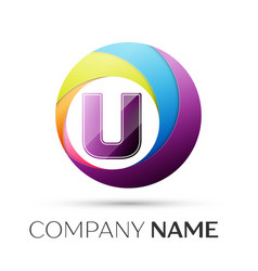 letter u logo symbol in the colorful circle on vector image vector image