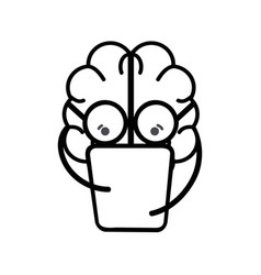 Line icon adorable kawaii brain reading book vector