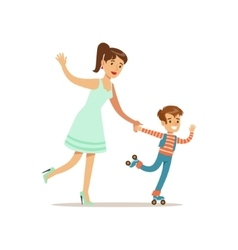 Mom And Son Roller Skating Loving Mother Enjoying vector image vector image
