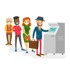 multicultural people standing in a queue to atm vector image