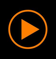 Play sign orange icon on black vector