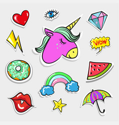 Pop art fashion quirky and cute badges vector