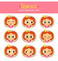 Princess little girl cute emotions set vector image