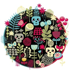 Skulls and flowers vector image vector image