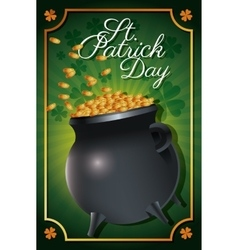 st patrick day golden coins celebration vector image