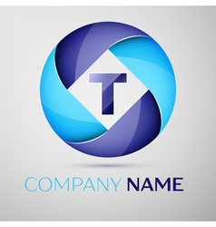 T letter colorful logo in the circle template for vector
