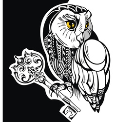 Tattoo owl with key vector image vector image