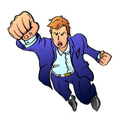 Team leader in a blue business suit pulls his hand vector