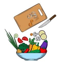 Vegetarian salad preparation process vector