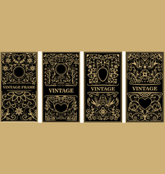 vintage frames in golden style on dark background vector image vector image
