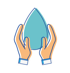 water drop symbol to environment care in the hands vector image vector image