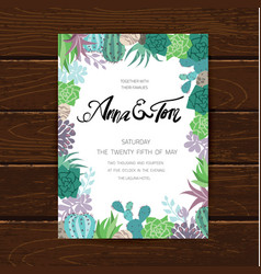 Wedding graphic set with succulentswreath and vector