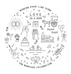 Wedding line icons collection vector