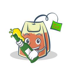 With beer tea bag character cartoon art vector