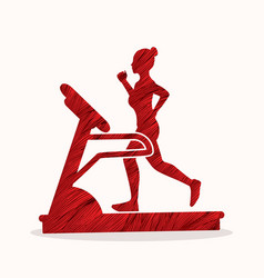 Woman running on treadmill graphic vector