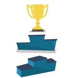 Gold trophy on pedestal vector image