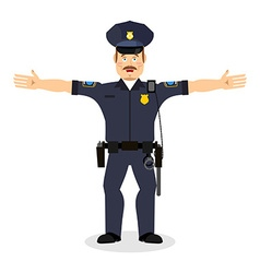 Good friendly cop happy policeman funny face vector