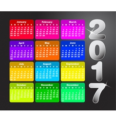 Colorful calendar for 2017 Week starts on sunday vector image