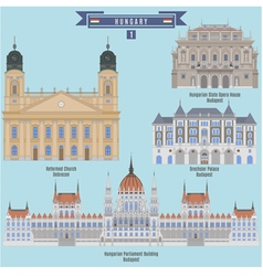 Famous places in hungary vector