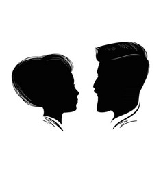 portrait of man and woman head profile black vector image