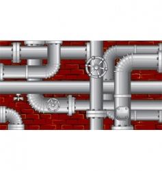 Water pipes over brick wall vector