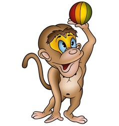 Monkey and ball vector