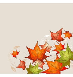 Autumn background with red and orange maple leaves vector image