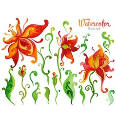 Beautiful watercolor fantasy flower set over white vector