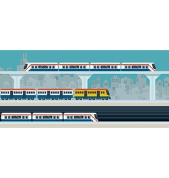Train sky train subway objects vector